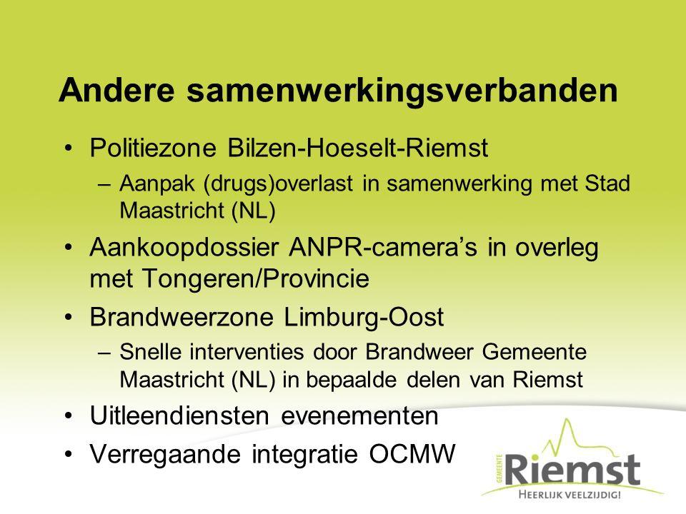 Andere samenwerkingsverbanden Politiezone Bilzen-Hoeselt-Riemst –Aanpak (drugs)overlast in samenwerking met Stad Maastricht (NL) Aankoopdossier ANPR-c