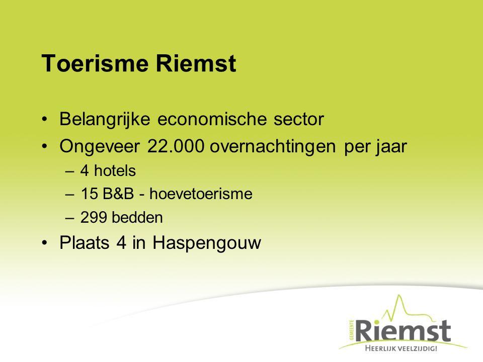 Toerisme Riemst Belangrijke economische sector Ongeveer 22.000 overnachtingen per jaar –4 hotels –15 B&B - hoevetoerisme –299 bedden Plaats 4 in Haspe