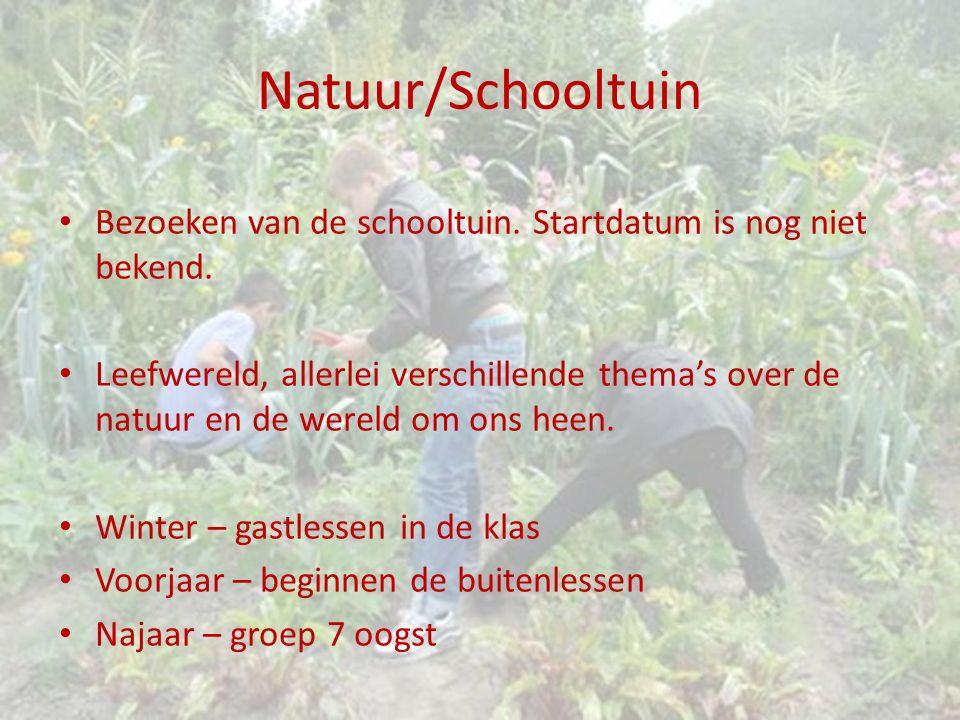 Natuur/Schooltuin Bezoeken van de schooltuin. Startdatum is nog niet bekend. Leefwereld, allerlei verschillende thema's over de natuur en de wereld om