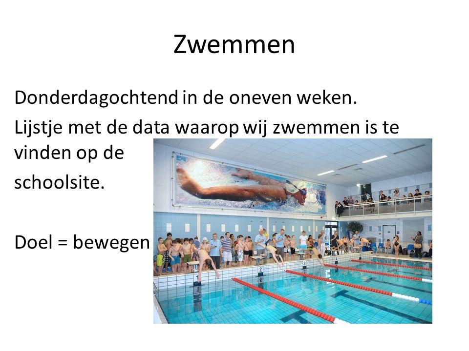 Zwemmen Donderdagochtend in de oneven weken. Lijstje met de data waarop wij zwemmen is te vinden op de schoolsite. Doel = bewegen