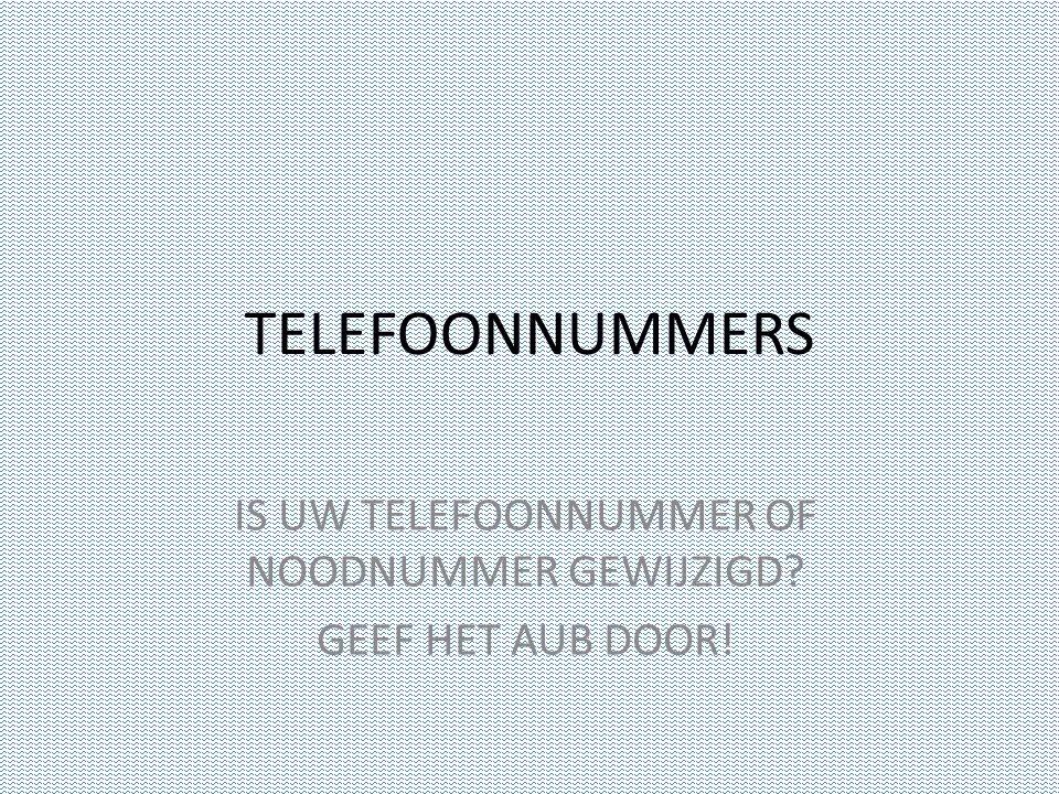 TELEFOONNUMMERS IS UW TELEFOONNUMMER OF NOODNUMMER GEWIJZIGD GEEF HET AUB DOOR!
