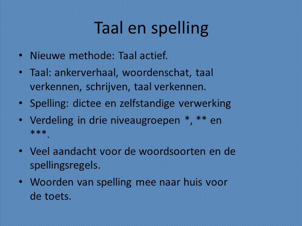 Taal en spelling Nieuwe methode: Taal actief. Taal: ankerverhaal, woordenschat, taal verkennen, schrijven, taal verkennen. Spelling: dictee en zelfsta