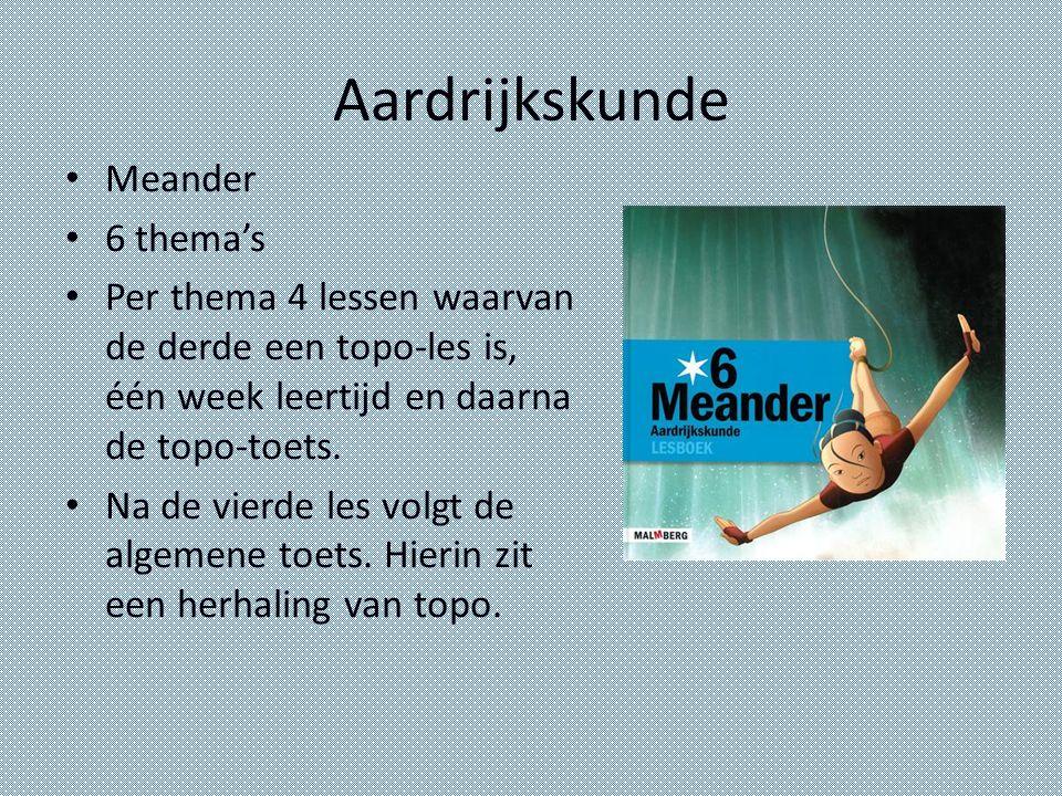 Aardrijkskunde Meander 6 thema's Per thema 4 lessen waarvan de derde een topo-les is, één week leertijd en daarna de topo-toets. Na de vierde les volg