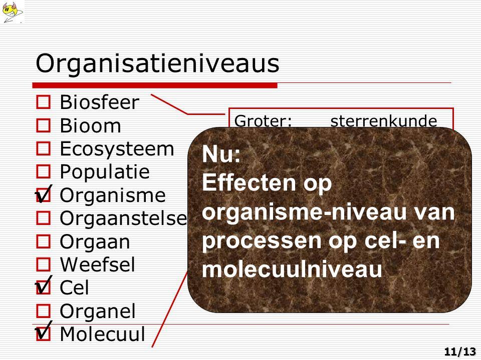 Groter:sterrenkunde Kleiner:scheikunde en natuurkunde Organisatieniveaus  Biosfeer  Bioom  Ecosysteem  Populatie  Organisme  Orgaanstelsel  Orgaan  Weefsel  Cel  Organel  Molecuul Nu: Effecten op organisme-niveau van processen op cel- en molecuulniveau √ √ √11/13
