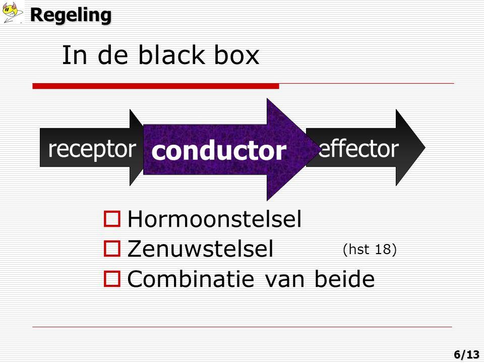  Hormoonstelsel  Zenuwstelsel  Combinatie van beide receptorconductoreffector conductor (hst 18) In de black boxRegeling6/13
