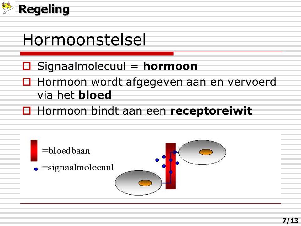 Hormoonstelsel  Signaalmolecuul = hormoon  Hormoon wordt afgegeven aan en vervoerd via het bloed  Hormoon bindt aan een receptoreiwitRegeling7/13