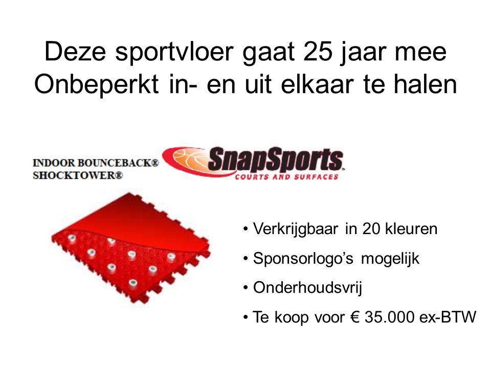 Deze sportvloer gaat 25 jaar mee Onbeperkt in- en uit elkaar te halen Verkrijgbaar in 20 kleuren Sponsorlogo's mogelijk Onderhoudsvrij Te koop voor € 35.000 ex-BTW