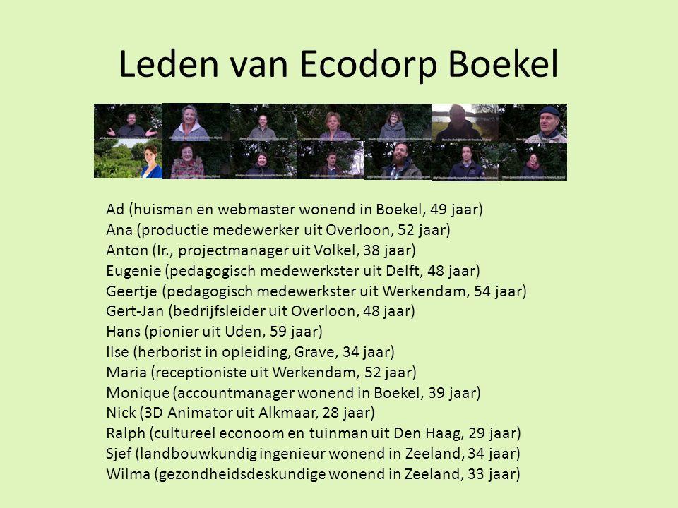 Leden van Ecodorp Boekel Ad (huisman en webmaster wonend in Boekel, 49 jaar) Ana (productie medewerker uit Overloon, 52 jaar) Anton (Ir., projectmanager uit Volkel, 38 jaar) Eugenie (pedagogisch medewerkster uit Delft, 48 jaar) Geertje (pedagogisch medewerkster uit Werkendam, 54 jaar) Gert-Jan (bedrijfsleider uit Overloon, 48 jaar) Hans (pionier uit Uden, 59 jaar) Ilse (herborist in opleiding, Grave, 34 jaar) Maria (receptioniste uit Werkendam, 52 jaar) Monique (accountmanager wonend in Boekel, 39 jaar) Nick (3D Animator uit Alkmaar, 28 jaar) Ralph (cultureel econoom en tuinman uit Den Haag, 29 jaar) Sjef (landbouwkundig ingenieur wonend in Zeeland, 34 jaar) Wilma (gezondheidsdeskundige wonend in Zeeland, 33 jaar)