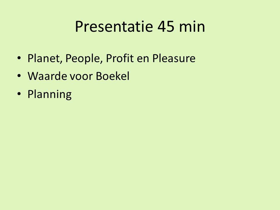Presentatie 45 min Planet, People, Profit en Pleasure Waarde voor Boekel Planning