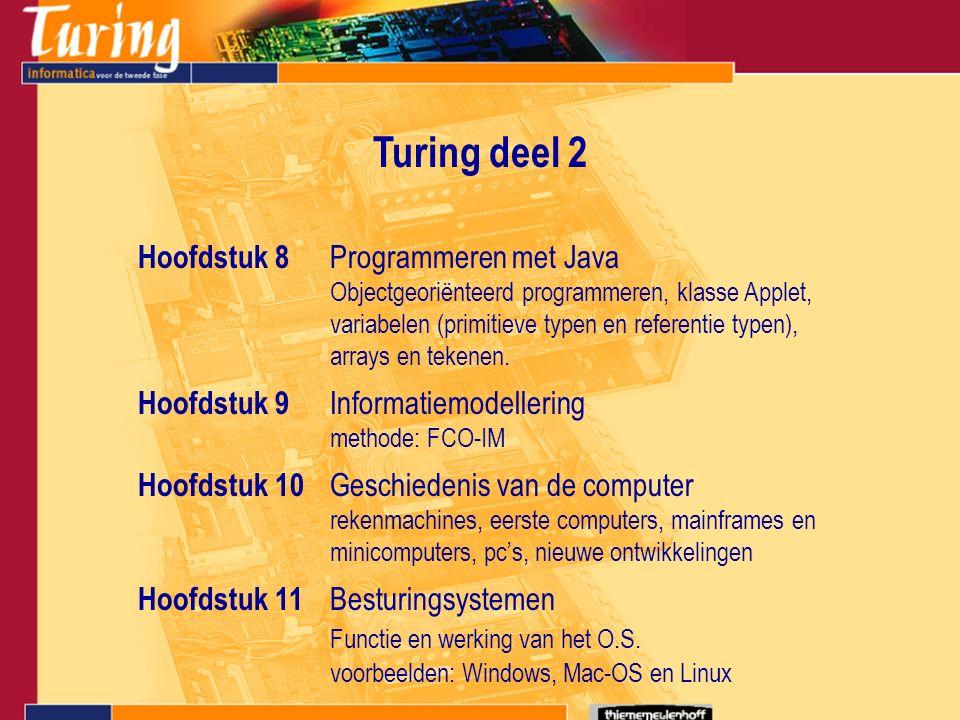 Turing deel 2 Hoofdstuk 8 Programmeren met Java Objectgeoriënteerd programmeren, klasse Applet, variabelen (primitieve typen en referentie typen), arrays en tekenen.