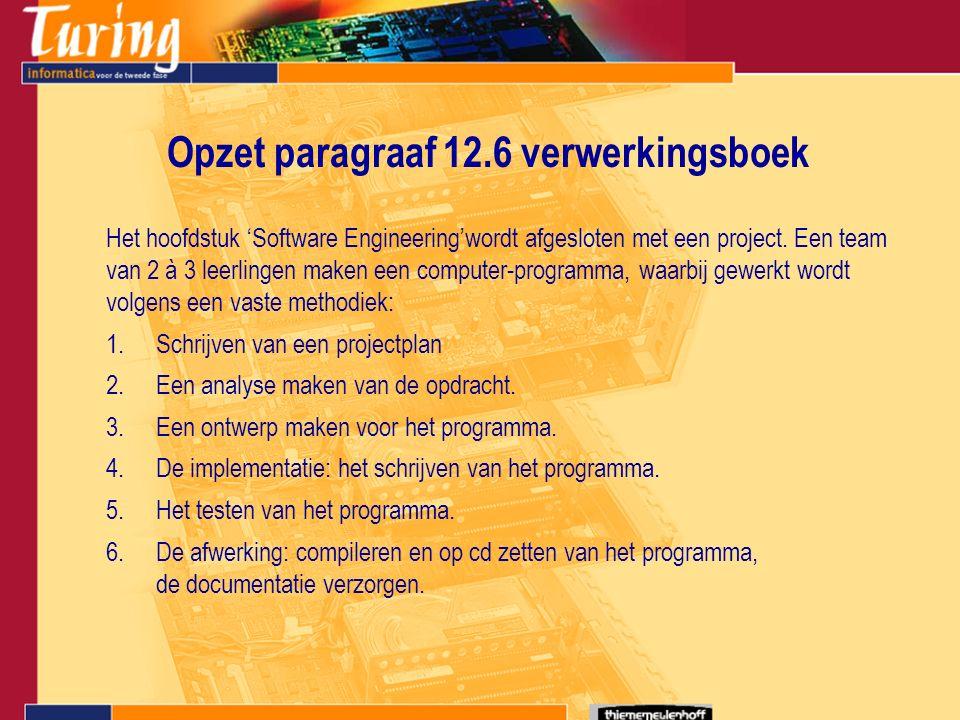 Opzet paragraaf 12.6 verwerkingsboek Het hoofdstuk 'Software Engineering'wordt afgesloten met een project.