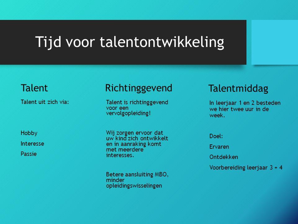 Tijd voor talentontwikkeling Richtinggevend Talent is richtinggevend voor een vervolgopleiding.