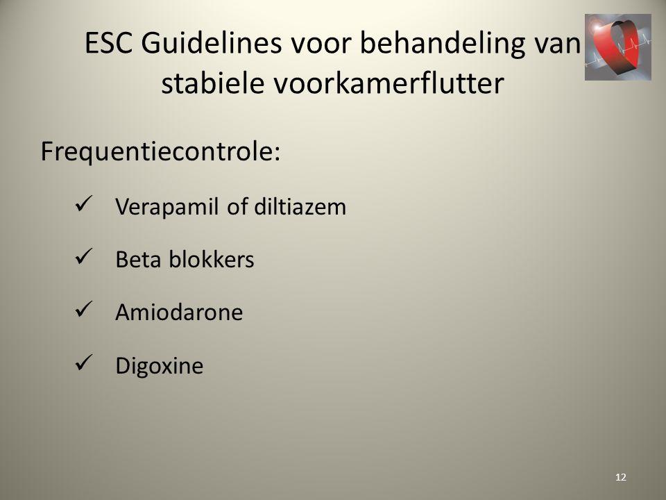 ESC Guidelines voor behandeling van stabiele voorkamerflutter Frequentiecontrole: Verapamil of diltiazem Beta blokkers Amiodarone Digoxine 12