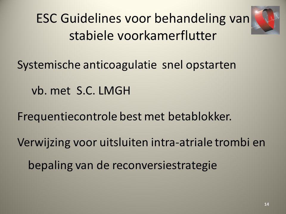 ESC Guidelines voor behandeling van stabiele voorkamerflutter Systemische anticoagulatie snel opstarten vb. met S.C. LMGH Frequentiecontrole best met