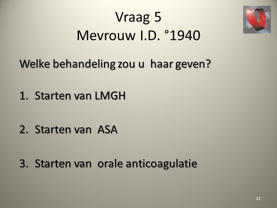 Vraag 5 Mevrouw I.D. °1940 Welke behandeling zou u haar geven? 1.Starten van LMGH 2.Starten van ASA 3.Starten van orale anticoagulatie 22