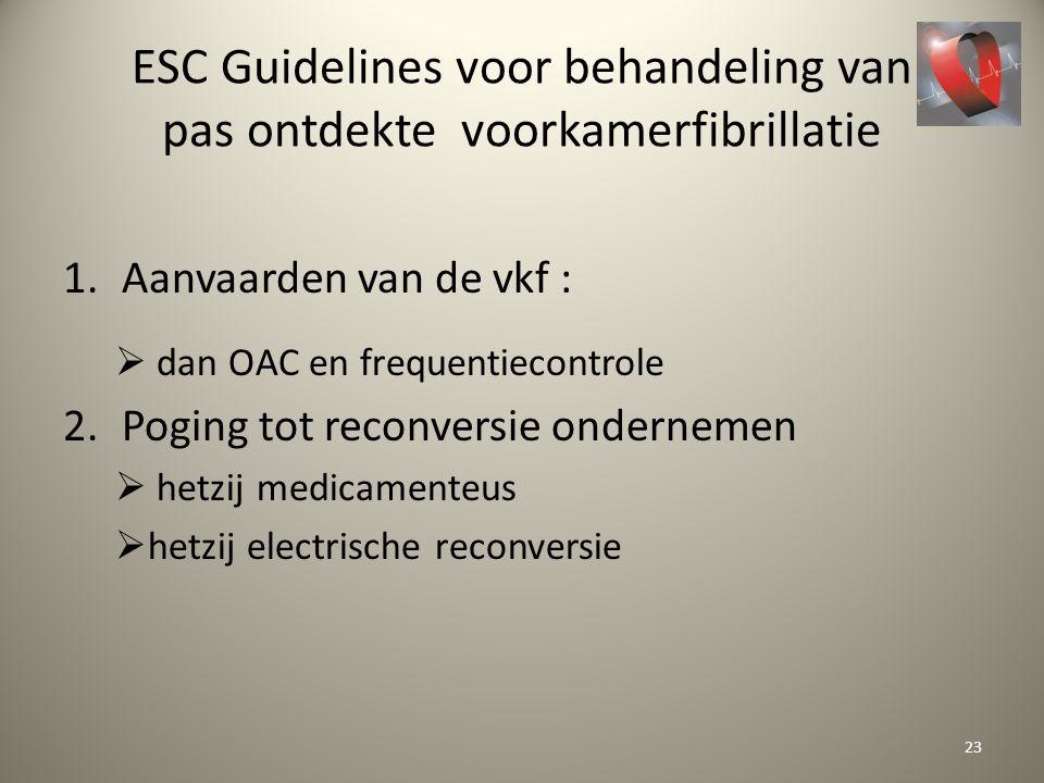 ESC Guidelines voor behandeling van pas ontdekte voorkamerfibrillatie 1.Aanvaarden van de vkf :  dan OAC en frequentiecontrole 2.Poging tot reconvers