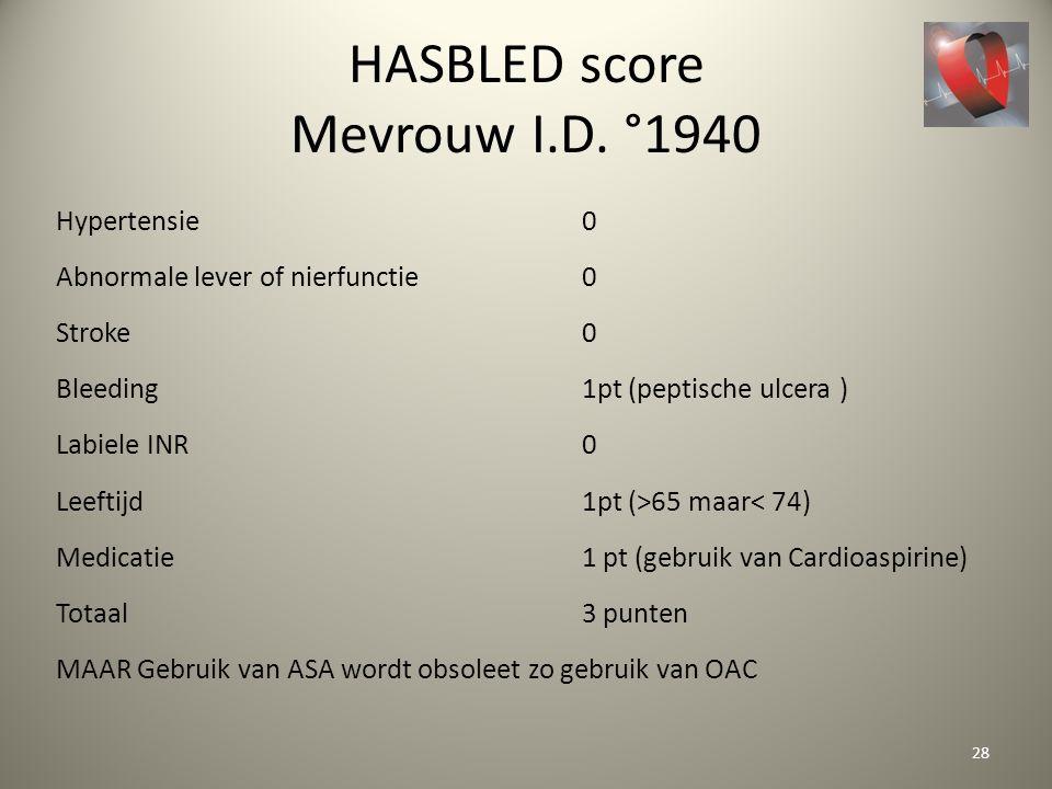 HASBLED score Mevrouw I.D. °1940 Hypertensie 0 Abnormale lever of nierfunctie0 Stroke 0 Bleeding 1pt (peptische ulcera ) Labiele INR0 Leeftijd 1pt (>6