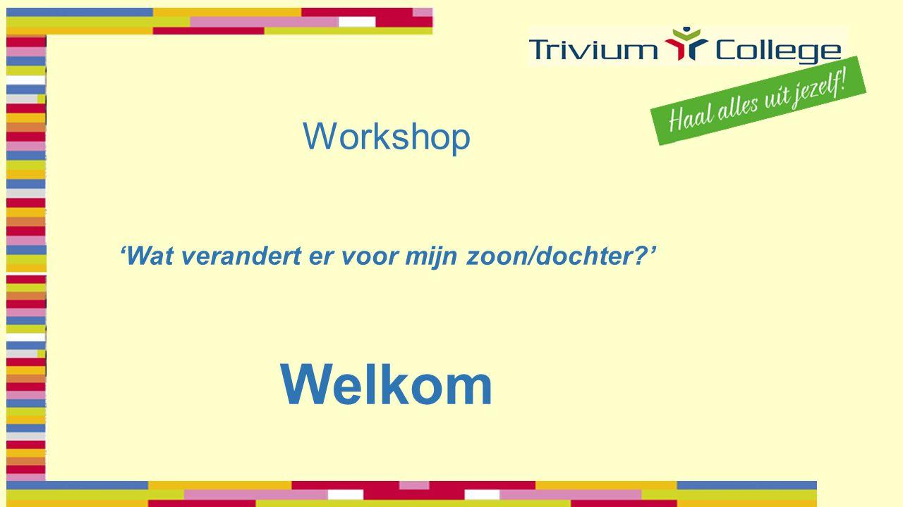 Workshop 'Wat verandert er voor mijn zoon/dochter ' Welkom