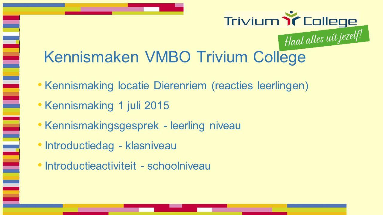 Kennismaken VMBO Trivium College Kennismaking locatie Dierenriem (reacties leerlingen) Kennismaking 1 juli 2015 Kennismakingsgesprek - leerling niveau Introductiedag - klasniveau Introductieactiviteit - schoolniveau