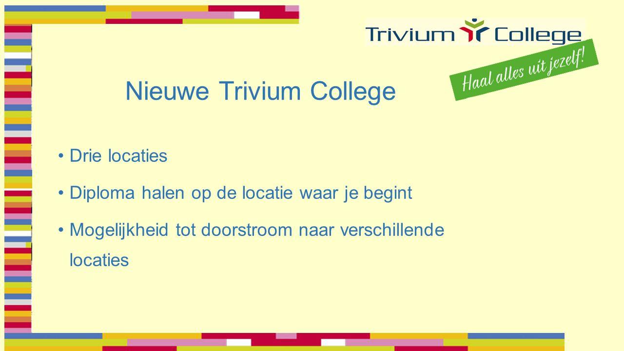 Nieuwe Trivium College Drie locaties Diploma halen op de locatie waar je begint Mogelijkheid tot doorstroom naar verschillende locaties