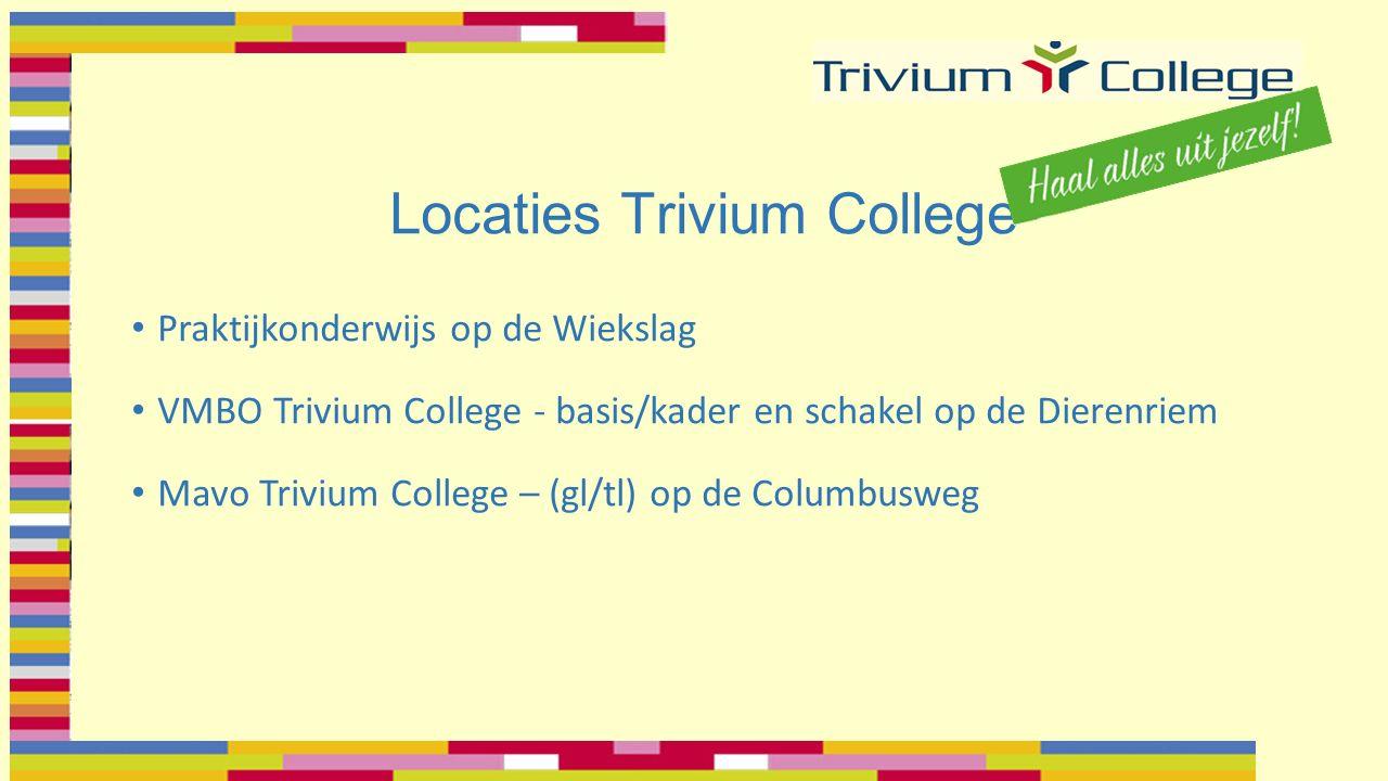 Locaties Trivium College Praktijkonderwijs op de Wiekslag VMBO Trivium College - basis/kader en schakel op de Dierenriem Mavo Trivium College – (gl/tl) op de Columbusweg
