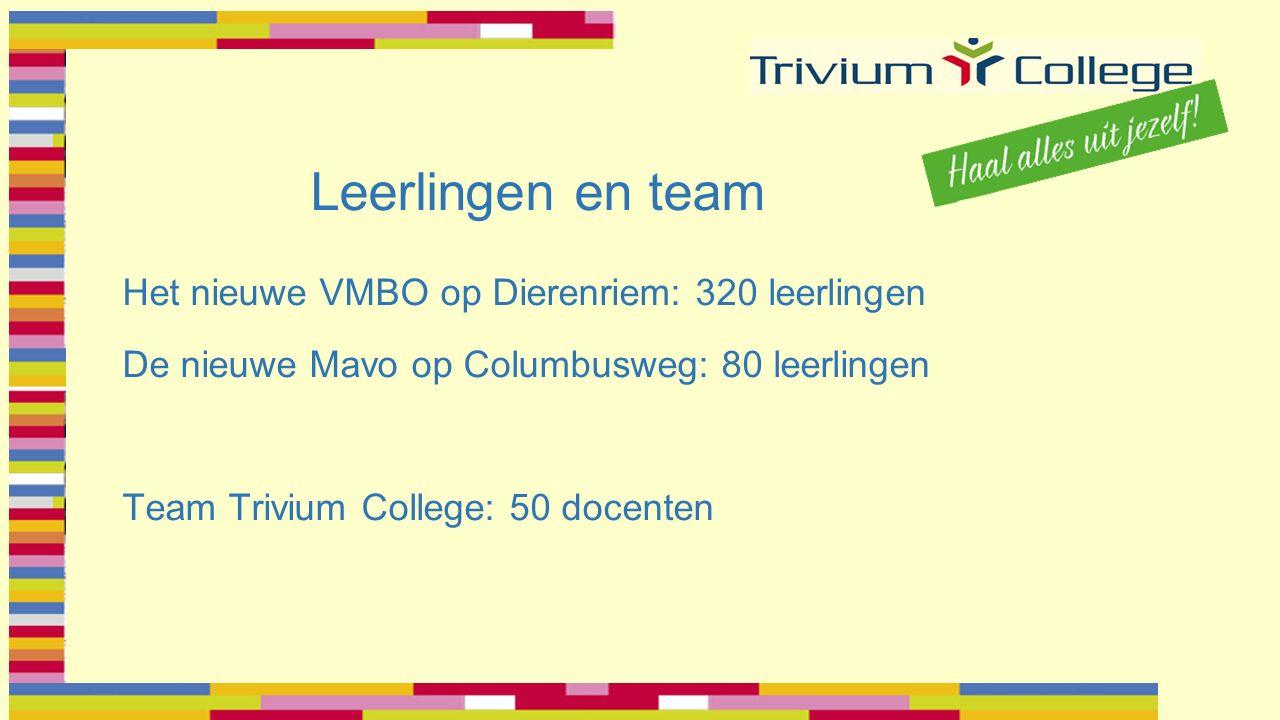 Leerlingen en team Het nieuwe VMBO op Dierenriem: 320 leerlingen De nieuwe Mavo op Columbusweg: 80 leerlingen Team Trivium College: 50 docenten
