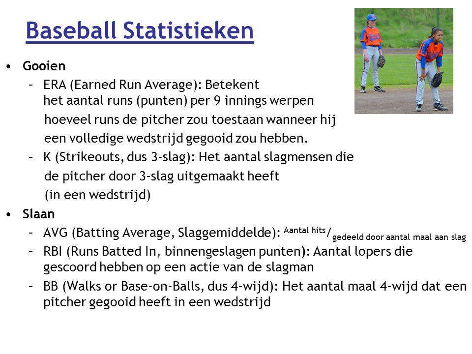 Baseball Statistieken Gooien –ERA (Earned Run Average): Betekent het aantal runs (punten) per 9 innings werpen hoeveel runs de pitcher zou toestaan wanneer hij een volledige wedstrijd gegooid zou hebben.