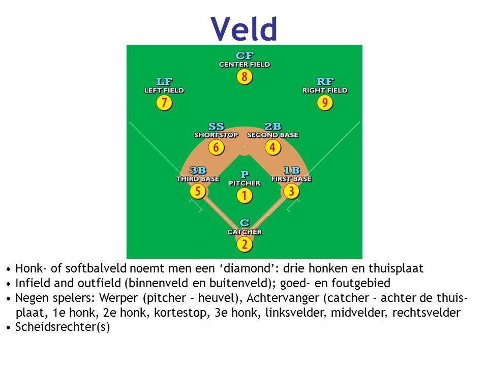 Veld Honk- of softbalveld noemt men een 'diamond': drie honken en thuisplaat Infield and outfield (binnenveld en buitenveld); goed- en foutgebied Negen spelers: Werper (pitcher - heuvel), Achtervanger (catcher - achter de thuis- plaat, 1e honk, 2e honk, kortestop, 3e honk, linksvelder, midvelder, rechtsvelder Scheidsrechter(s)
