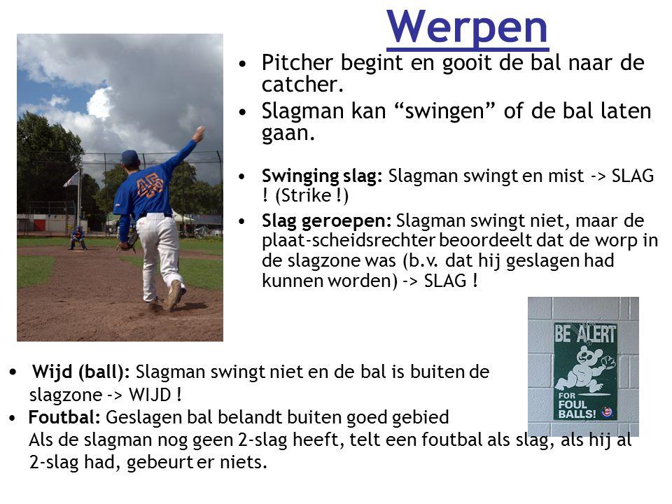 Werpen Pitcher begint en gooit de bal naar de catcher.