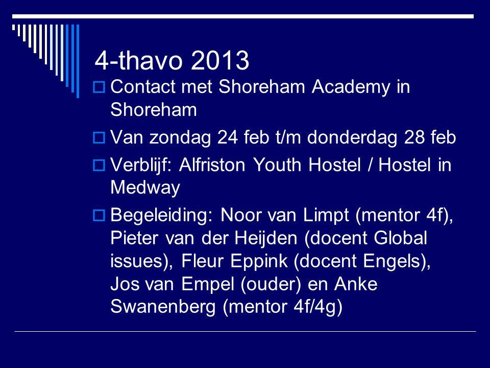 4-thavo 2013  Contact met Shoreham Academy in Shoreham  Van zondag 24 feb t/m donderdag 28 feb  Verblijf: Alfriston Youth Hostel / Hostel in Medway  Begeleiding: Noor van Limpt (mentor 4f), Pieter van der Heijden (docent Global issues), Fleur Eppink (docent Engels), Jos van Empel (ouder) en Anke Swanenberg (mentor 4f/4g)