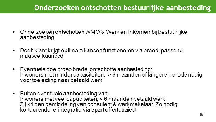15 Onderzoeken ontschotten WMO & Werk en Inkomen bij bestuurlijke aanbesteding Doel: klant krijgt optimale kansen functioneren via breed, passend maat