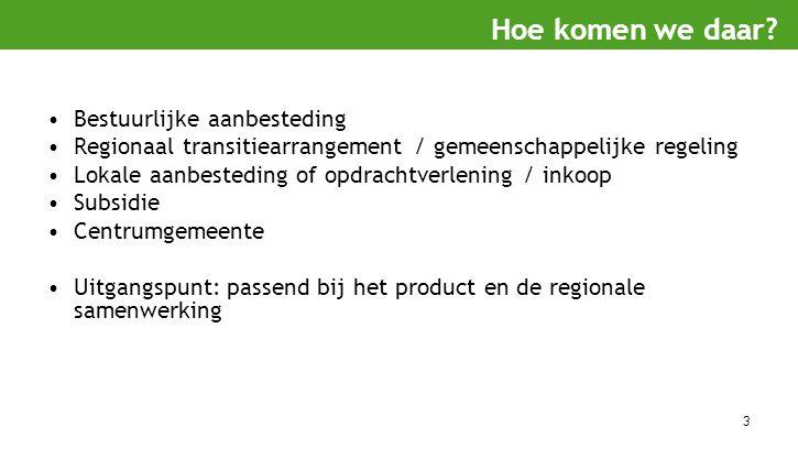 3 Bestuurlijke aanbesteding Regionaal transitiearrangement / gemeenschappelijke regeling Lokale aanbesteding of opdrachtverlening / inkoop Subsidie Ce