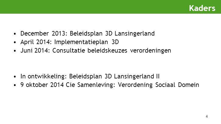 4 December 2013: Beleidsplan 3D Lansingerland April 2014: Implementatieplan 3D Juni 2014: Consultatie beleidskeuzes verordeningen In ontwikkeling: Bel