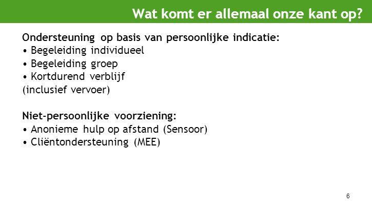 6 Ondersteuning op basis van persoonlijke indicatie: Begeleiding individueel Begeleiding groep Kortdurend verblijf (inclusief vervoer) Niet-persoonlij