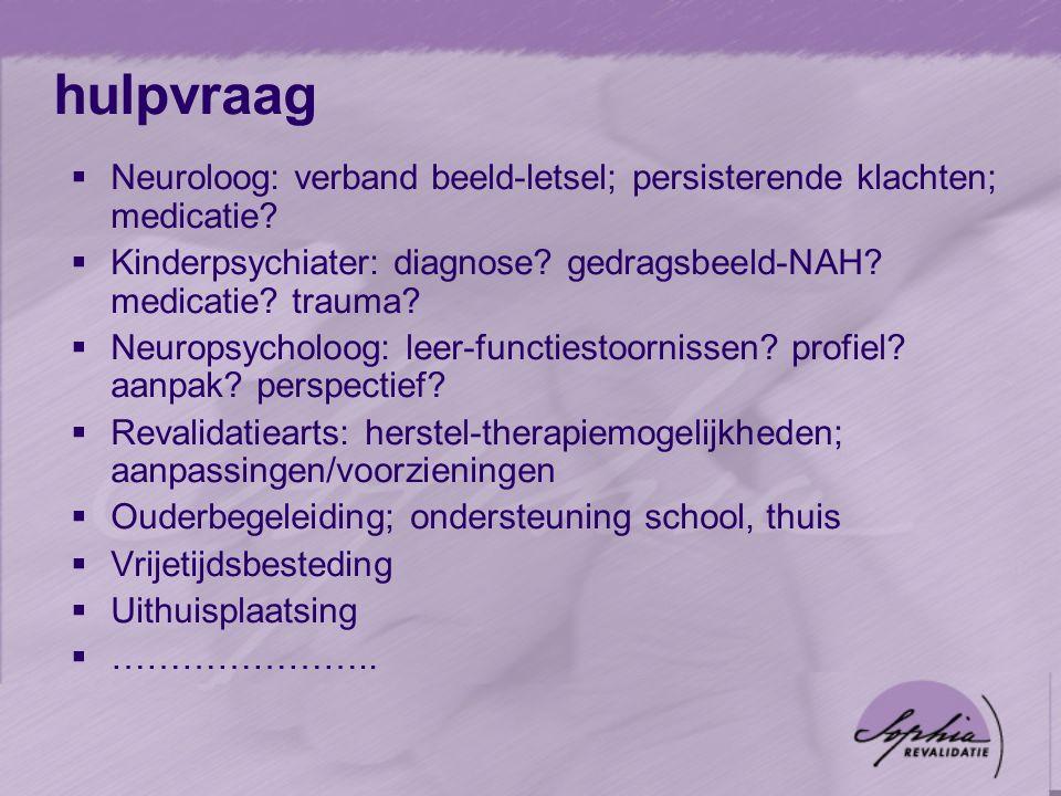 hulpvraag  Neuroloog: verband beeld-letsel; persisterende klachten; medicatie.