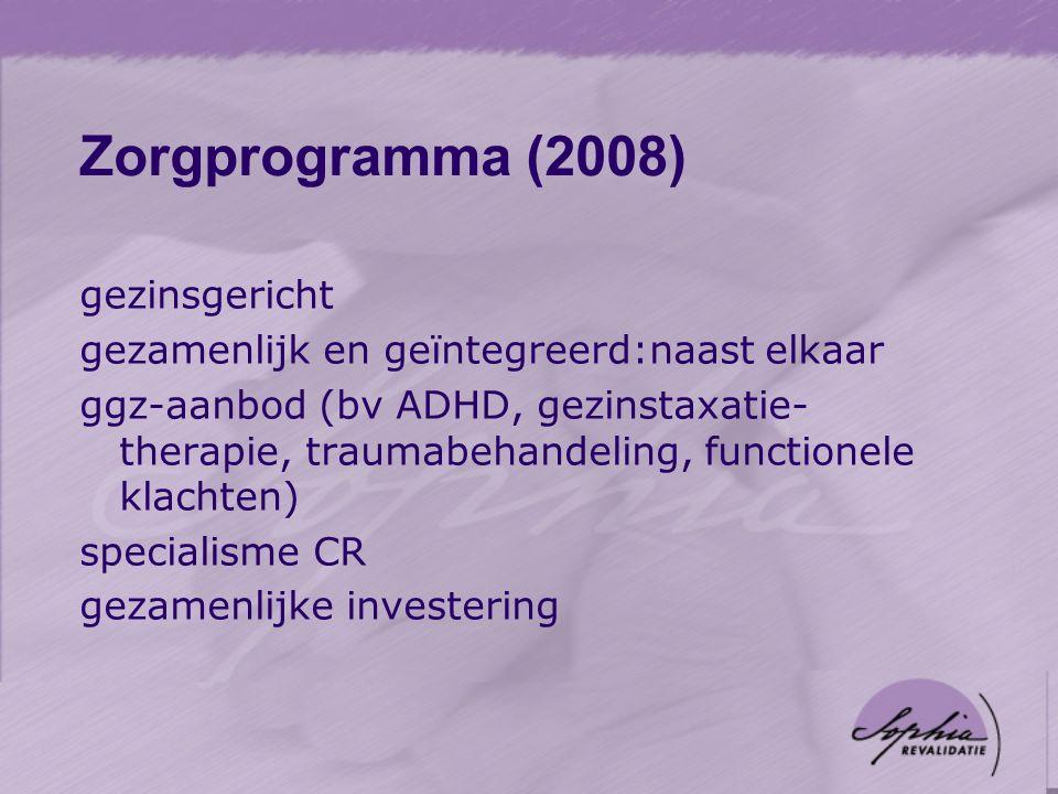 Zorgprogramma (2008) gezinsgericht gezamenlijk en geïntegreerd:naast elkaar ggz-aanbod (bv ADHD, gezinstaxatie- therapie, traumabehandeling, functionele klachten) specialisme CR gezamenlijke investering