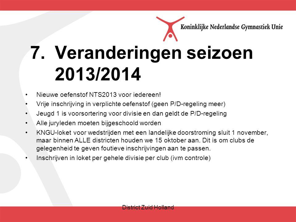 7.Veranderingen seizoen 2013/2014 Nieuwe oefenstof NTS2013 voor iedereen.