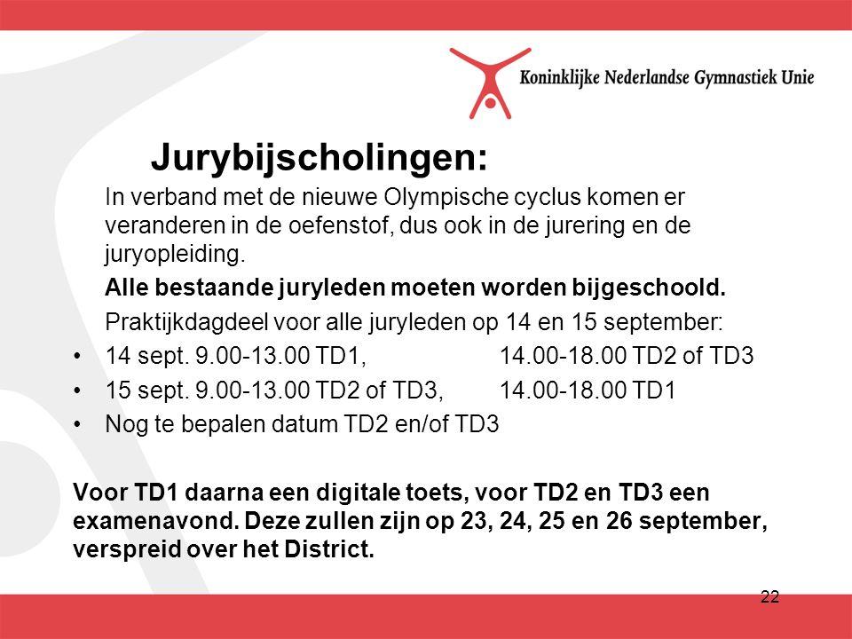 22 Jurybijscholingen: In verband met de nieuwe Olympische cyclus komen er veranderen in de oefenstof, dus ook in de jurering en de juryopleiding.
