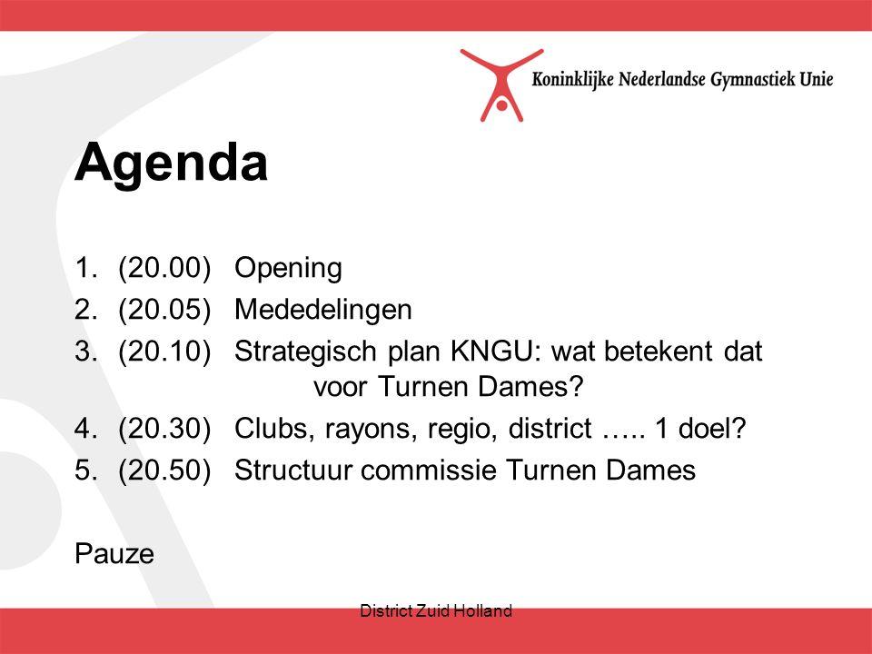 Agenda 1.(20.00) Opening 2.(20.05) Mededelingen 3.(20.10) Strategisch plan KNGU: wat betekent dat voor Turnen Dames.