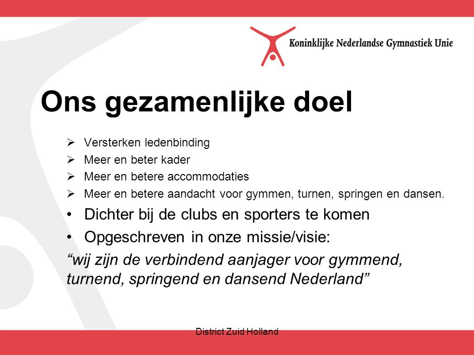 Hoofddoelen: Hoofddoel 1: Voor alle sporters, voor alle niveaus en voor alle disciplines.