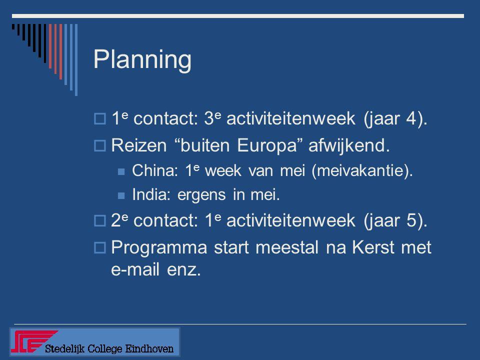 Planning  1 e contact: 3 e activiteitenweek (jaar 4).