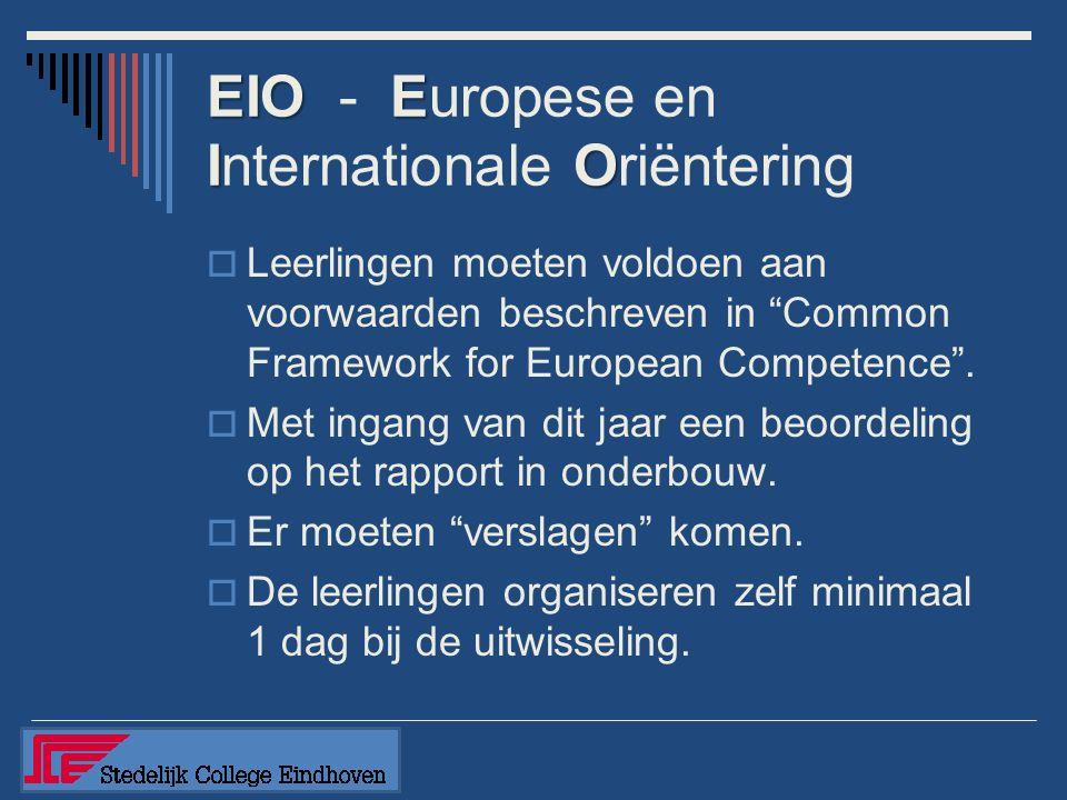 EIOE IO EIO - Europese en Internationale Oriëntering  Leerlingen moeten voldoen aan voorwaarden beschreven in Common Framework for European Competence .