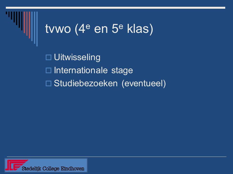 tvwo (4 e en 5 e klas)  Uitwisseling  Internationale stage  Studiebezoeken (eventueel)