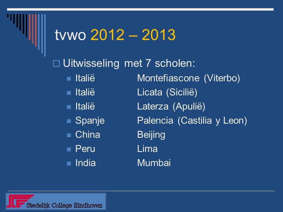 tvwo 2012 – 2013  Uitwisseling met 7 scholen: ItaliëMontefiascone (Viterbo) ItaliëLicata (Sicilië) ItaliëLaterza (Apulië) SpanjePalencia (Castilia y Leon) ChinaBeijing PeruLima India Mumbai
