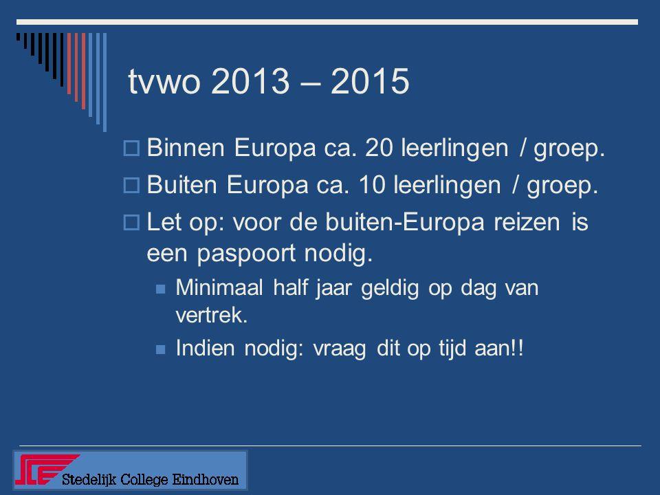 tvwo 2013 – 2015  Binnen Europa ca. 20 leerlingen / groep.