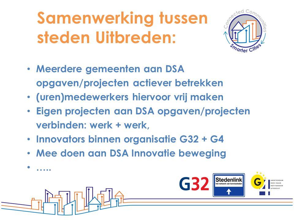 Samenwerking tussen steden Uitbreden: Meerdere gemeenten aan DSA opgaven/projecten actiever betrekken (uren)medewerkers hiervoor vrij maken Eigen proj