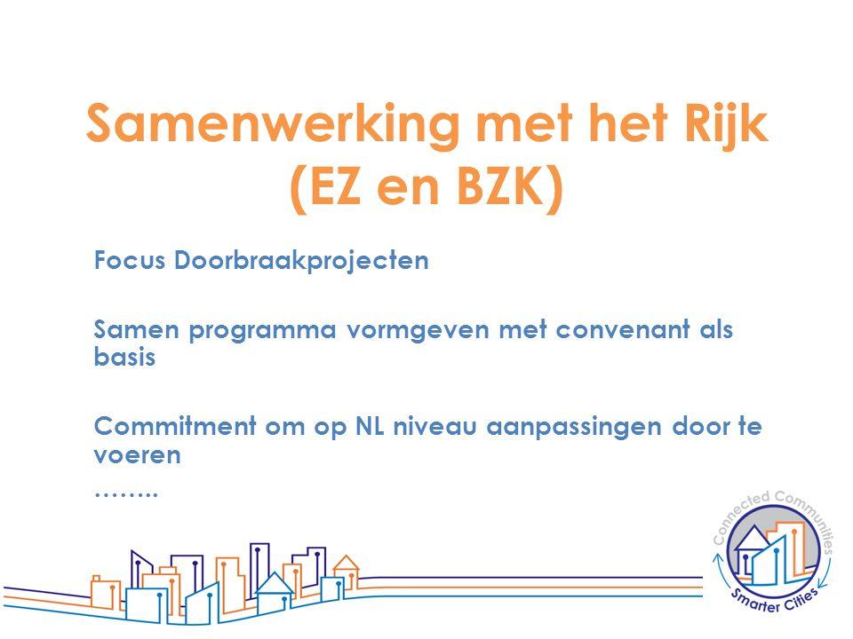 Samenwerking met het Rijk (EZ en BZK) Focus Doorbraakprojecten Samen programma vormgeven met convenant als basis Commitment om op NL niveau aanpassing