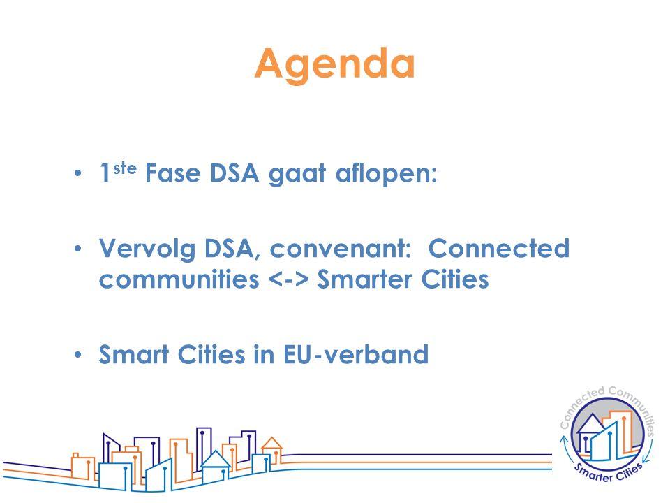 Agenda 1 ste Fase DSA gaat aflopen: Vervolg DSA, convenant: Connected communities Smarter Cities Smart Cities in EU-verband