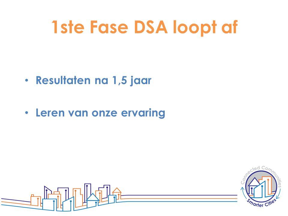 1ste Fase DSA loopt af Resultaten na 1,5 jaar Leren van onze ervaring