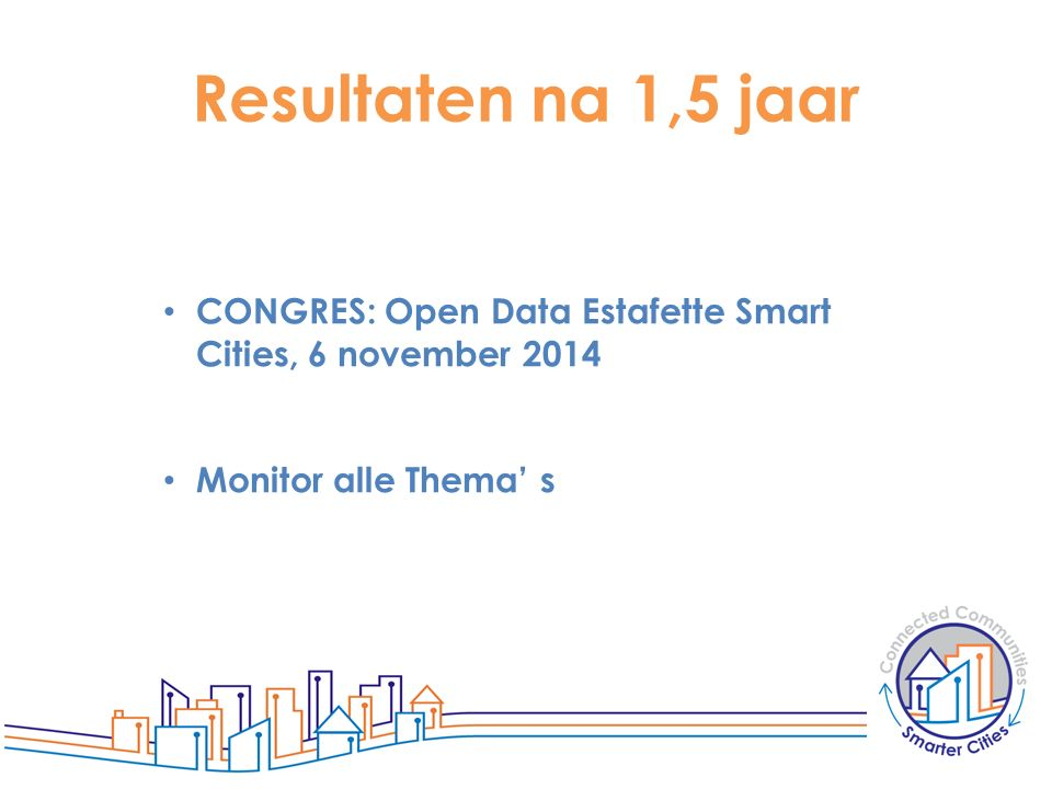 Resultaten na 1,5 jaar CONGRES: Open Data Estafette Smart Cities, 6 november 2014 Monitor alle Thema' s